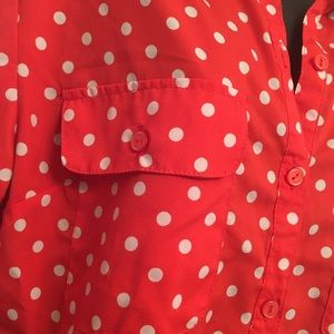 Notations Tops - Notations red polka dot button down blouse size L